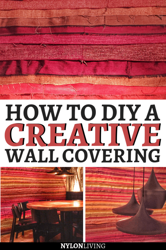Want to give a little makeover to your house without spending too much? You might just have to look for ideas for a DIY wall decor. Check out this very colorful, creative wall covering idea that you can totally DIY without spending a fortune- all you need is some strips of raw silk! #wall #walldecor #diy #interiordecorating