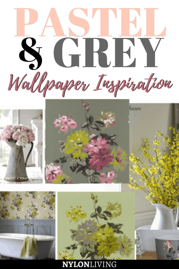 Thinking of decorating with a moody pastels and grey palette? Check out this Guild Portier wallpaper for some classic wallpaper inspiration. #wallpaper #pastels #grey #walls #walldecor