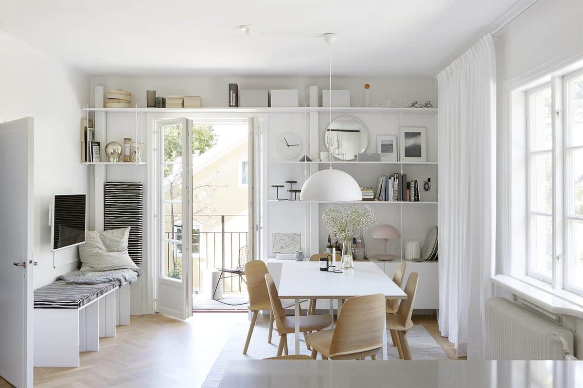 open plan Swedish kitchen and dining room
