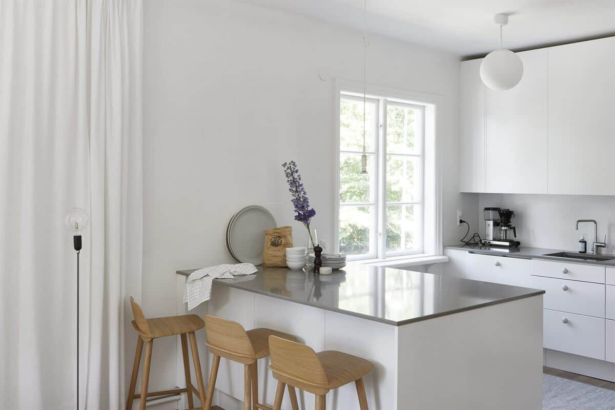 Open plan Swedish kitchen and dining