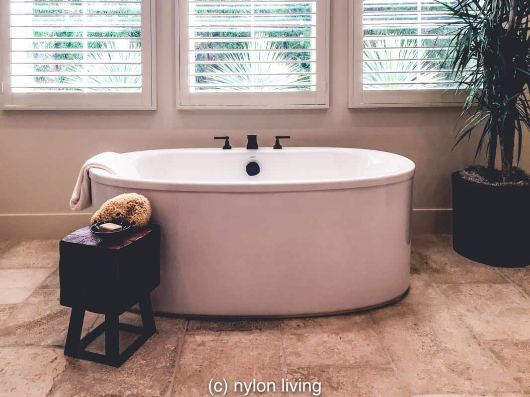 A stand-alone bathtub is perfect for a luxury bath room.