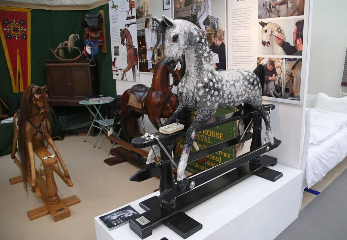 On the Stevenson Brothers Rocking Horses, a Swarovski Crystal encrusted rocking horse, the show's most expensive item at £98,000, at the Spirit of Christmas Fair 2016, at Olympia, London