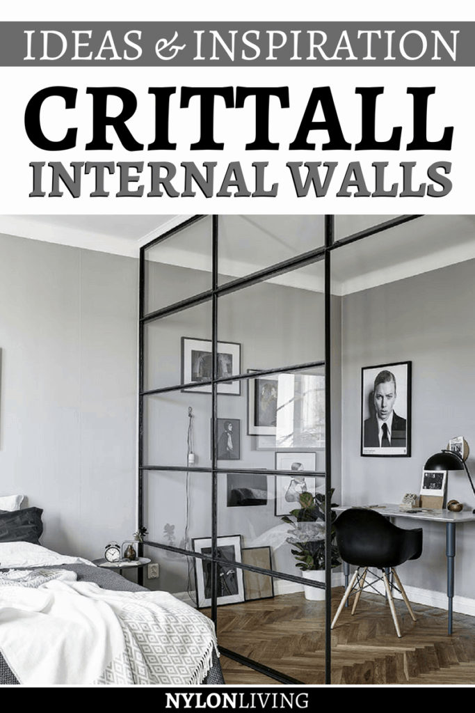A Crittall internal wall can easily divide a home office from the bedroom. Crittall is an English manufacturer of steel windows with a long-standing history of excellence.Get some inspiration for internal walls with these examples of Crittall walls. #crittall #internalwall #walls #homeoffice #decoratingideas