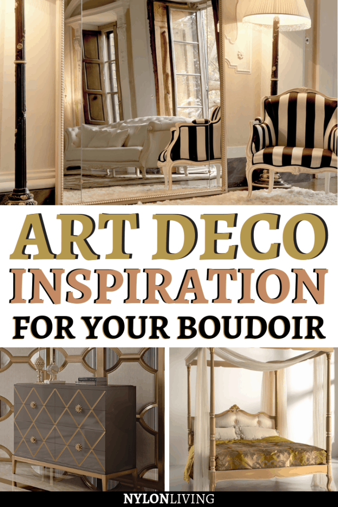 You might have stayed in an art deco inspired bedroom in some hotel, but probably never thought that you could decorate your own boudoir at home! Check out a few ideas for art deco inspired decor and make your bedroom an over the top room! #artdeco #bedroomideas #bedroomdesign #bedroomdecor #bedroomgoals