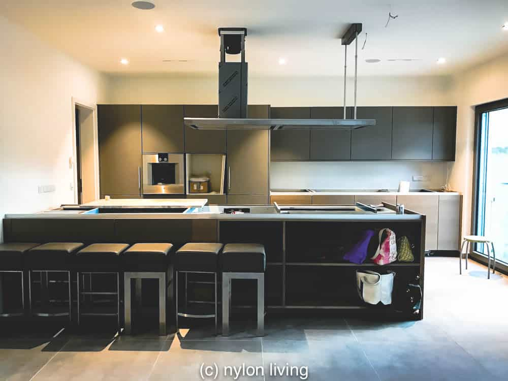 The kitchen in our luxury modular home being assembled   Schwerer Haus UK   German prefab houses   modular home design   #prefabhomes #Germankithouses