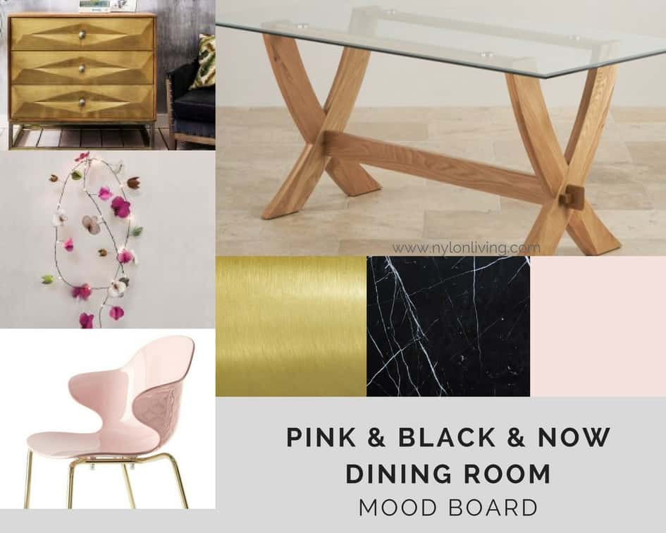 A Pink and Black Color Scheme for an Elegant Dining Room