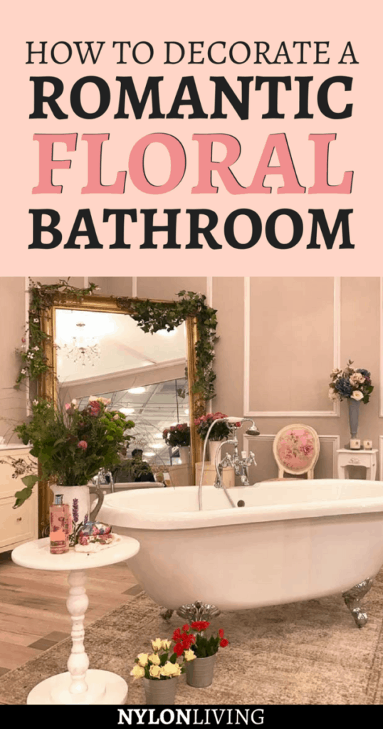 If I had my own bathroom I would totally have this romantic bathroom filled with flowers that I saw at the Ideal Home Show in London. Click for some inspiration for floral bathroom decor and to get a few romantic bathroom ideas - it's so girly and cute! I can totally imagine sinking into a deep-soaking tub with a good book and a glass of wine. #floral #bathroomdesign #bathroomideas #bathroomdecorideas - via @nylonliving