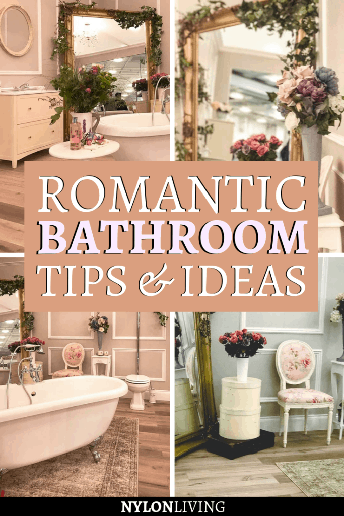 If you had your own bathroom at home, wouldn't you like this romantic bathroom filled with flowers? This one that I saw at the Ideal Home Show in London is so beautiful! Check out this post for some inspiration for floral bathroom decor and to find a few romantic bathroom ideas. Can't you picture yourself sinking into a deep-soaking tub with a good book and a glass of wine? #romantic #floral #bathroom #bathroomdesign #bathroomideas #bathroomdecorideas