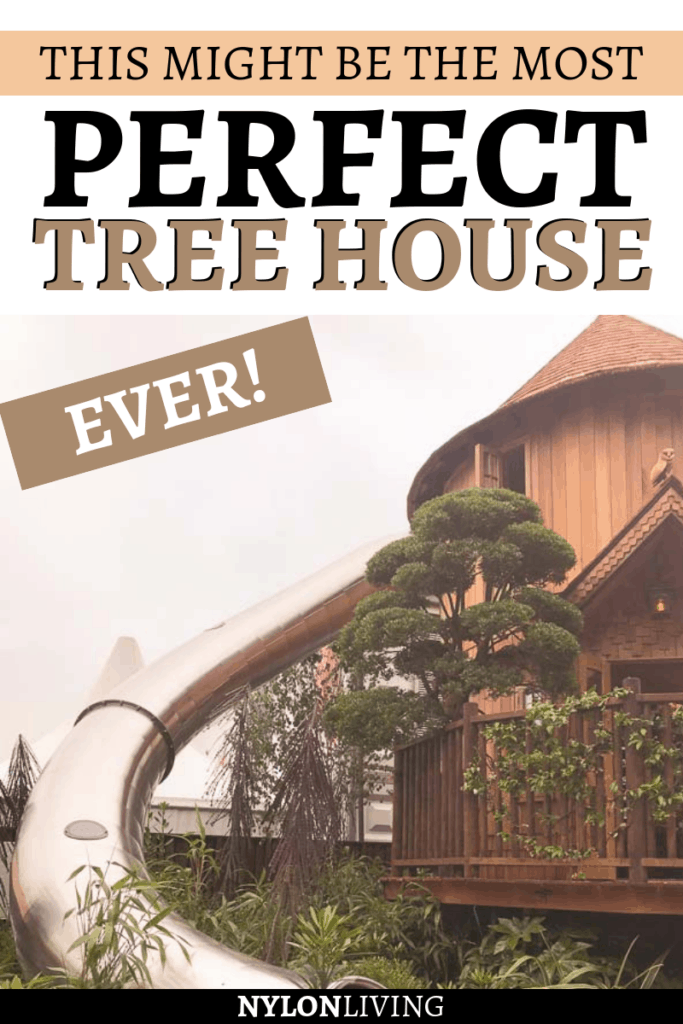 Who said that tree houses have to be the basic ones you grew up playing in? The luxury tree house I saw at t he RHS Chelsea Garden Show in London changed the way I think about a platform tree house. Look at it! It has two floors, a turret reading nook and a tree house slide hidden in a cupboard. No kidding! Click to find some awesome tree house ideas! #treehouse #outdoorfurniture #gardendeco #gardenideas #treehouseideas