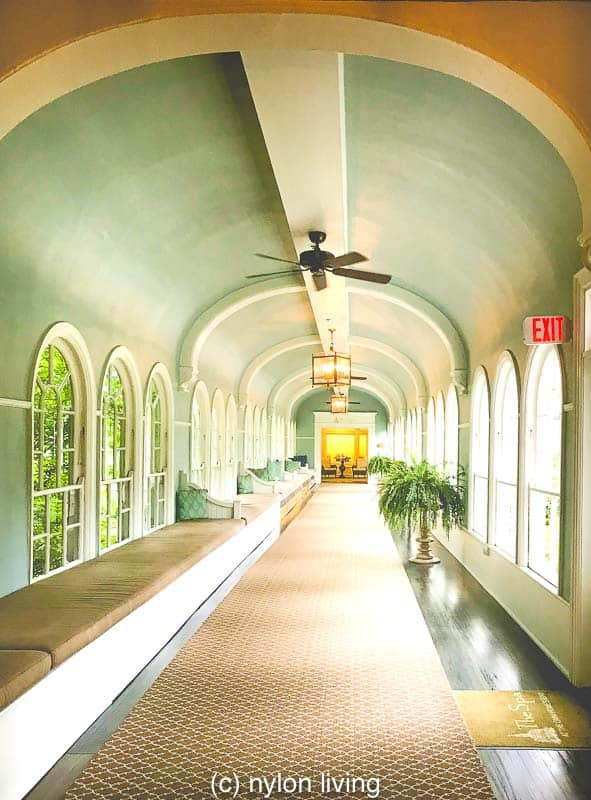The walkway to the Spa building is one of the few original structures that survived a 1901 fire.