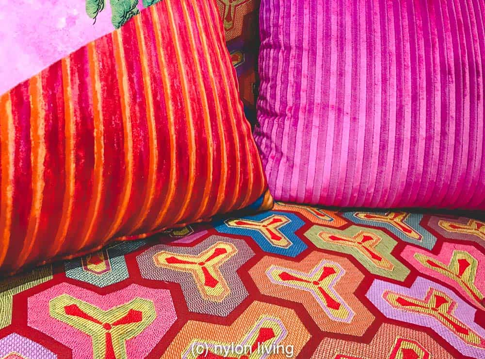 Lots of bright colours vibrant, exciting interior scheme.
