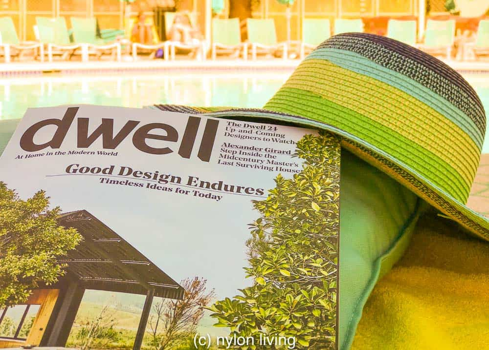 This mid century modern hotel has a copy of Dwell in the room for your reading pleasure.