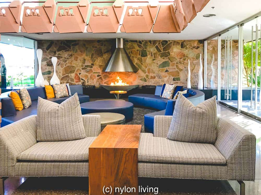 The reception of the Hotel Valley Ho with its streamlined furniture and curvaceous fireplace