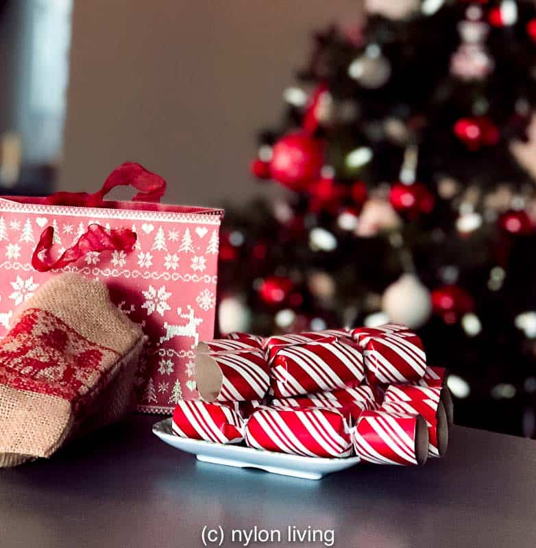 red and white Christmas crackers to go with red and white Nordic Christmas decorations