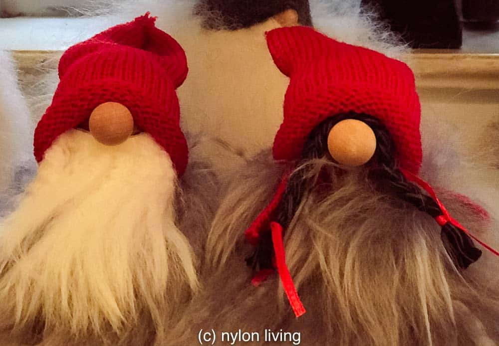 Even when you can hardly see their faces you can tell Scandinavian Christmas gnomes are full of personality.