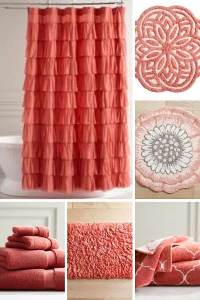 A selection of coral bathroom decor from Pier 1