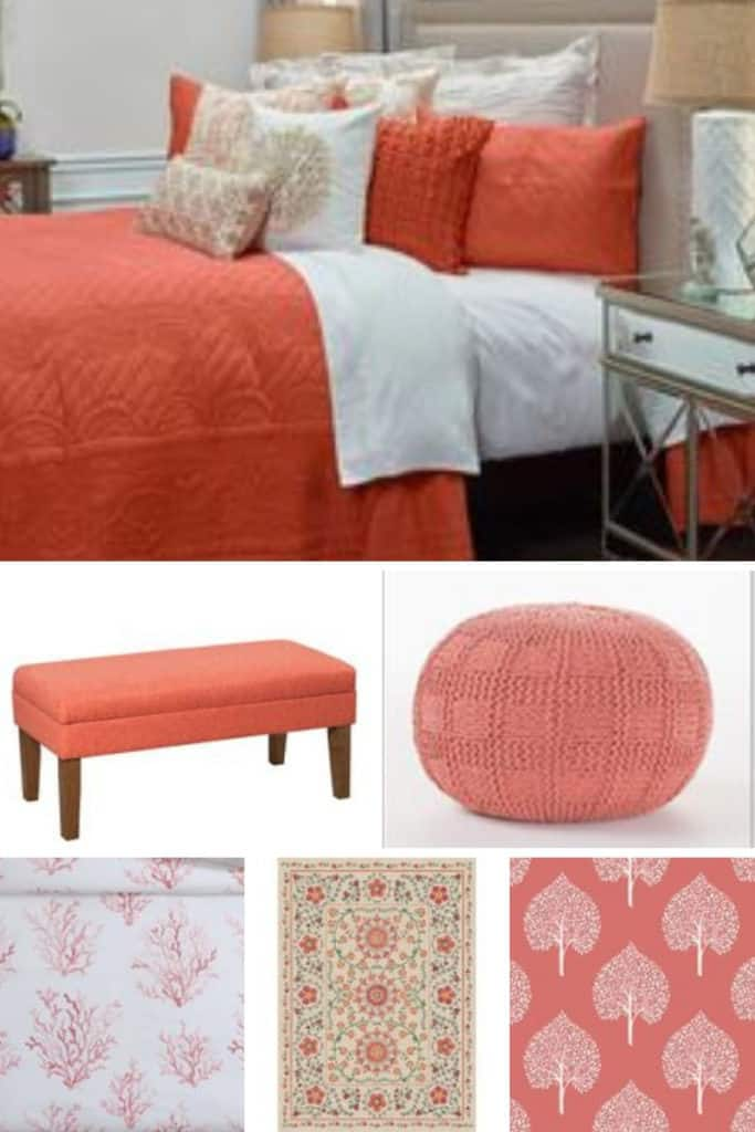 A selection of coral bedroom decor from Pier 1