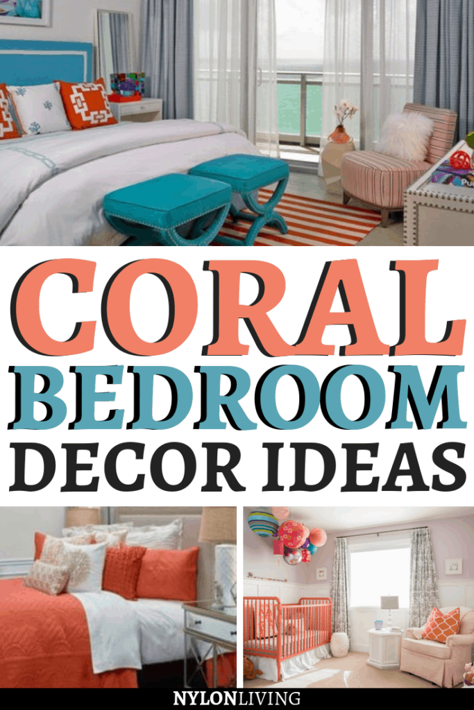 The new fave coral peach color is a perfect one for the more intimate spaces in your home. Not ready to commit to a coral peach color? Coral bedroom decor works well with coral colored sheets, coral colored bedding or even just a coral colored throw blanket. Other colors like grey, greens and blues will make the coral peach color pop. Check out a few coral bedroom decor ideas. #coral #bedroomdecor #bedroomdesign #bedroomideas