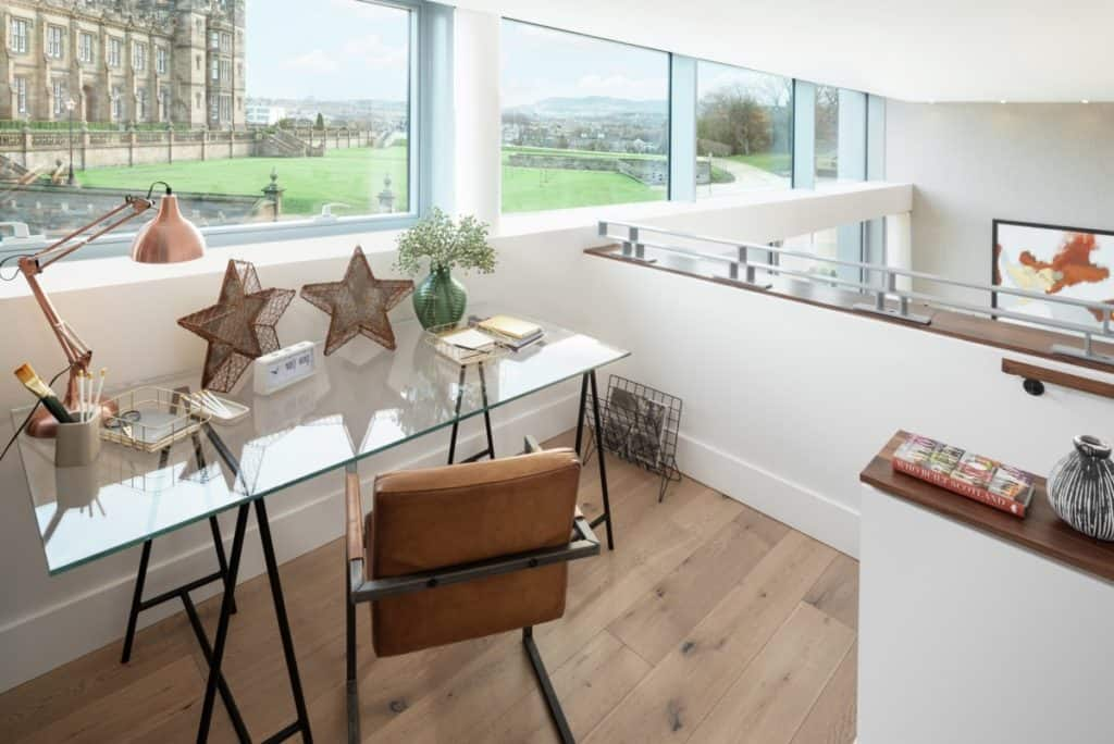 It's wonderful to have a workspace with a view in these new build flats Edinburgh