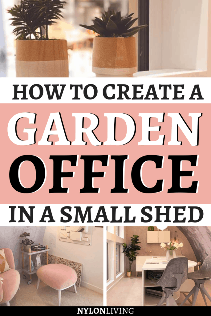 There's only so much room in the house and you may have more space in the garden. I found this modern prefab shed at an Ideal Home Show and fell in love with the idea of a small office garden pod. Imagine to have a light-filled dreamy space of your own – learn how to create a stylish garden office shed! #gardenoffice #officeshed #gardenideas #officeideas #gardenpod