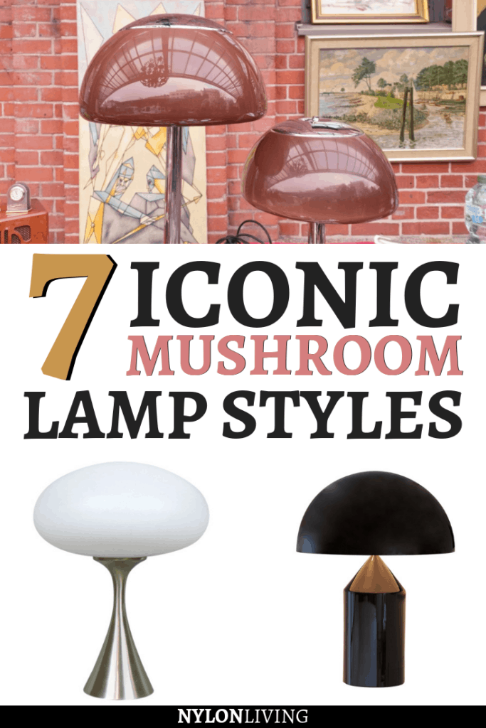 Have you notice that the stylish mushroom lamp is having a resurgence in popularity? In addition to iconic mushroom lamp shade styles like the Panthella Lamp, Atollo Lamp, Bauhaus Lamp and the Snoopy Lamp, there are some great replica mushroom lamps out there. Here are 7 iconic mushroom lamp styles to inspire you in your search for your perfect accent table lamp! #mushroomlamp #lamp #lampdesign #lampideas #bauhauslamp