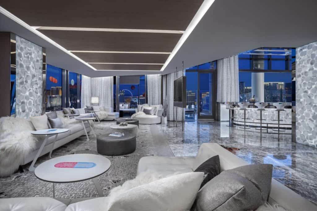 The expansive living rooms in the Palms Casino Suites are set up for a good party! But its strictly bring your own pills.