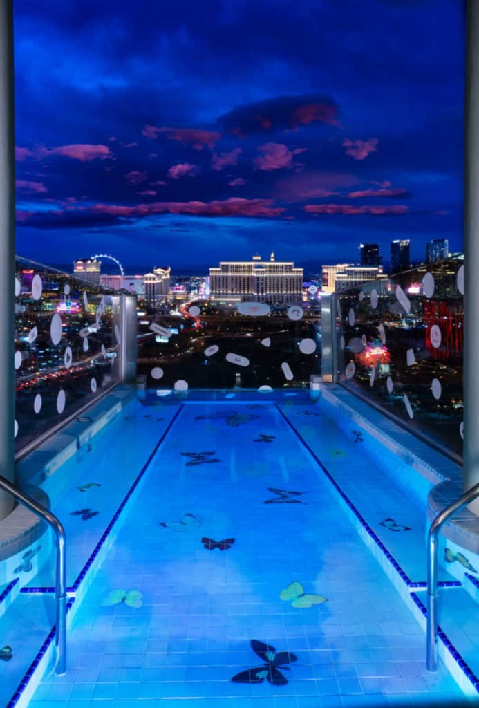 The cantilevered pool has views of the Vegas skyline.
