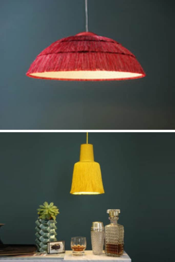 Top: Fringed ceiling light (Image credit: Big Pascha) Bottom: Fringed ceiling light which also hits up another trend - Gen Z yellow (Image credit: Nedgis)