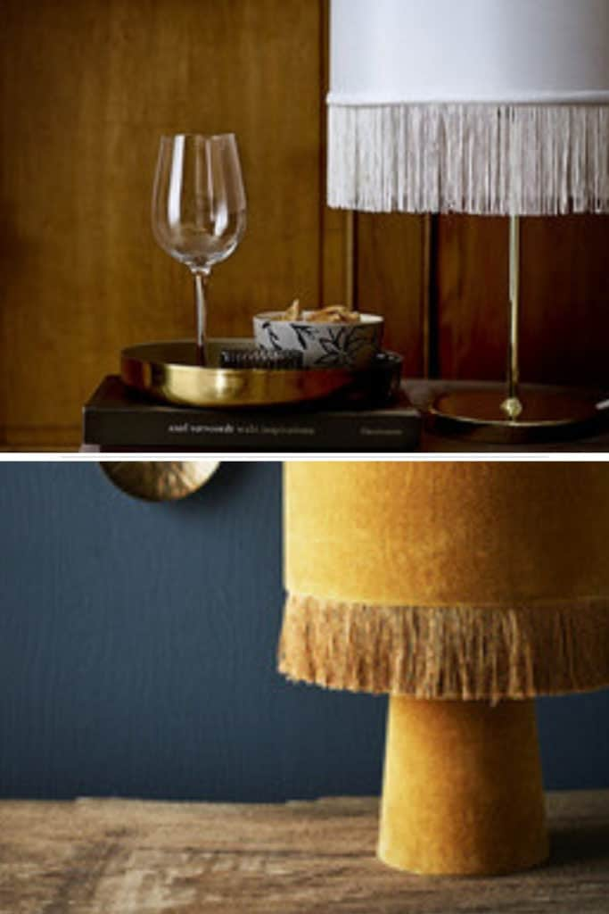 Top: Gold table lamp with a white fringe lamp shade (Image Credit: Hurn & Hurn) Bottom: Yellow velvet with a silk lampshade fringe (image credit: Abode Living)
