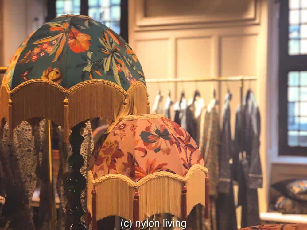 In the nightwear department at Liberty these patterned lamp shades go extra with lampshade tassel fringe