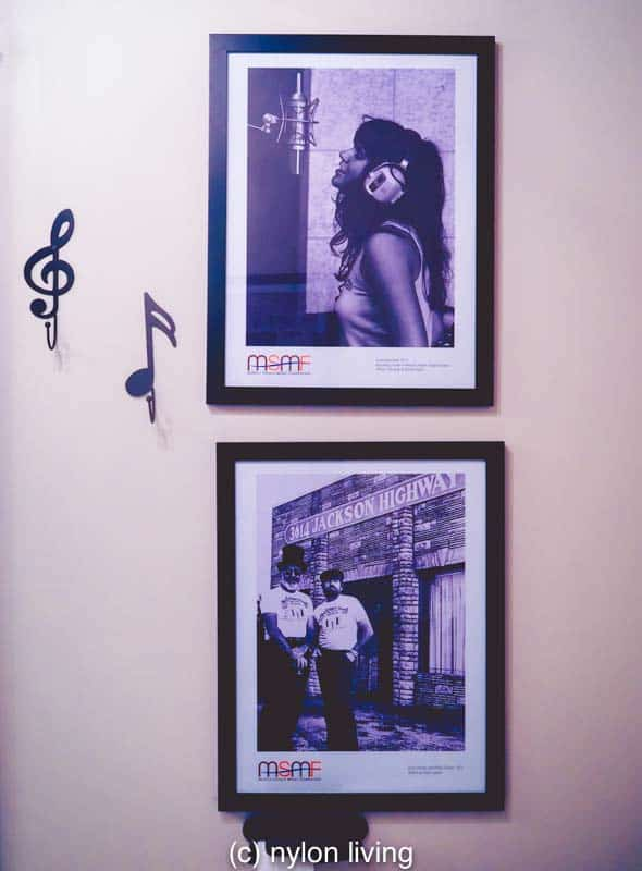 Photos in the Muscle Shoals room include a very young Linda Ronstadt recording music
