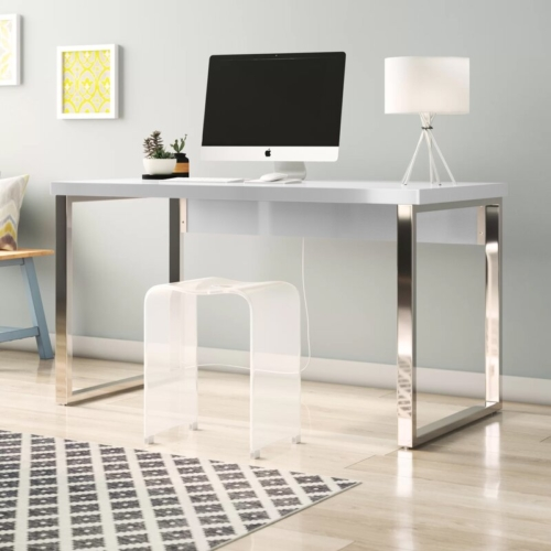 white writing desk with a computer screen on top