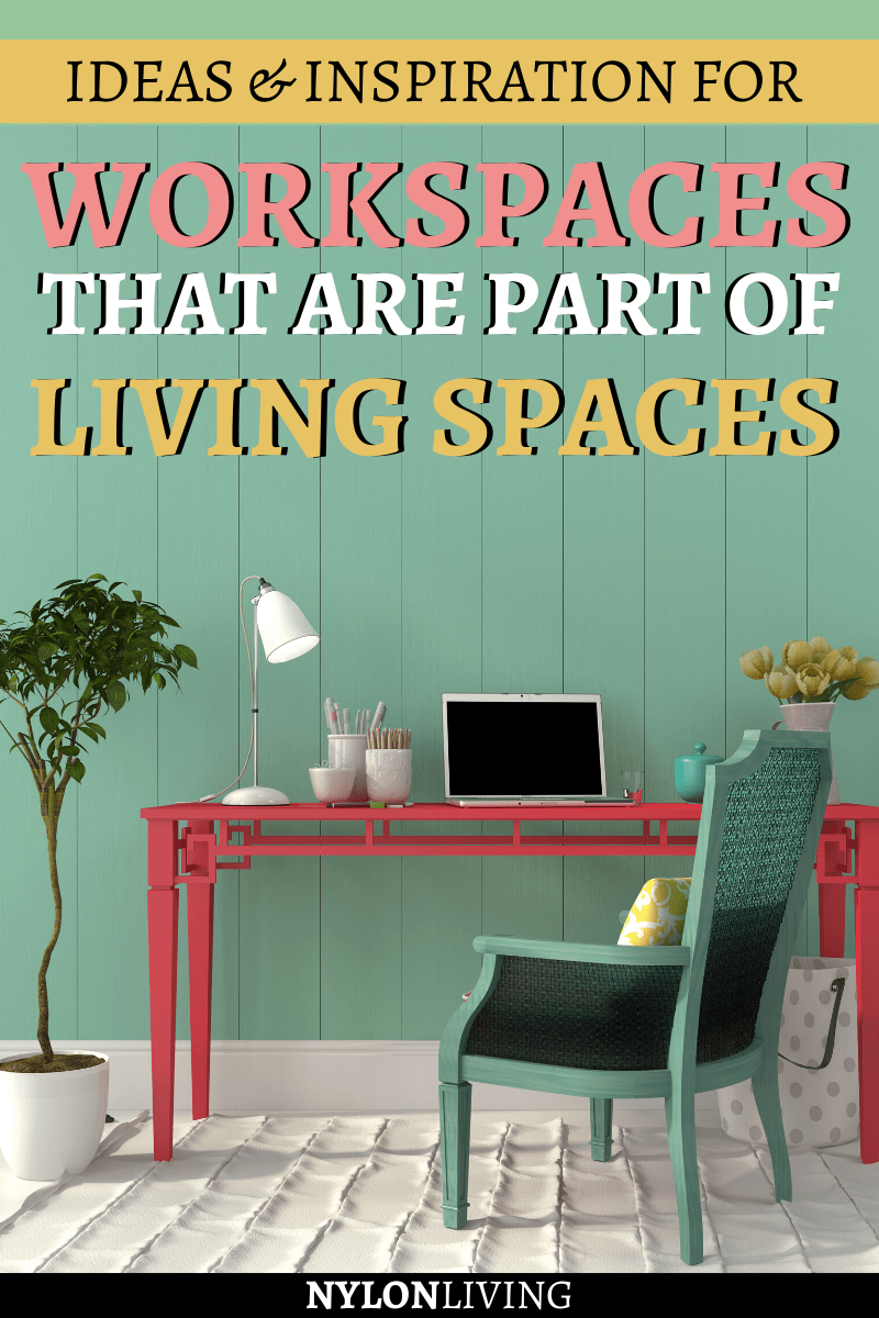 "green walls, pink desk and a blue chair in an office space with the text ""workspaces that are part of living spaces"""