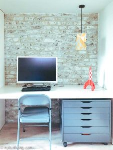 white and grey desk with a computer
