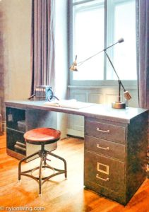 industrial style writing desk and stool