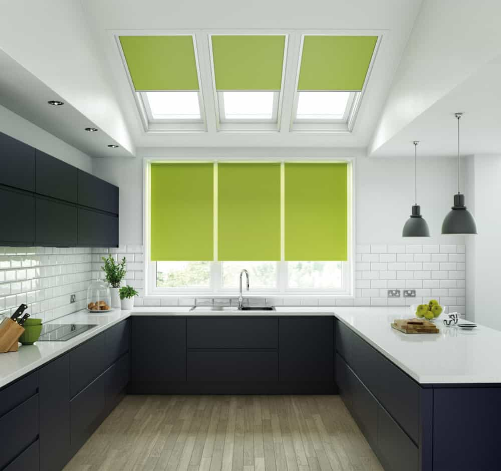 lime green blinds in a black and white kitchen
