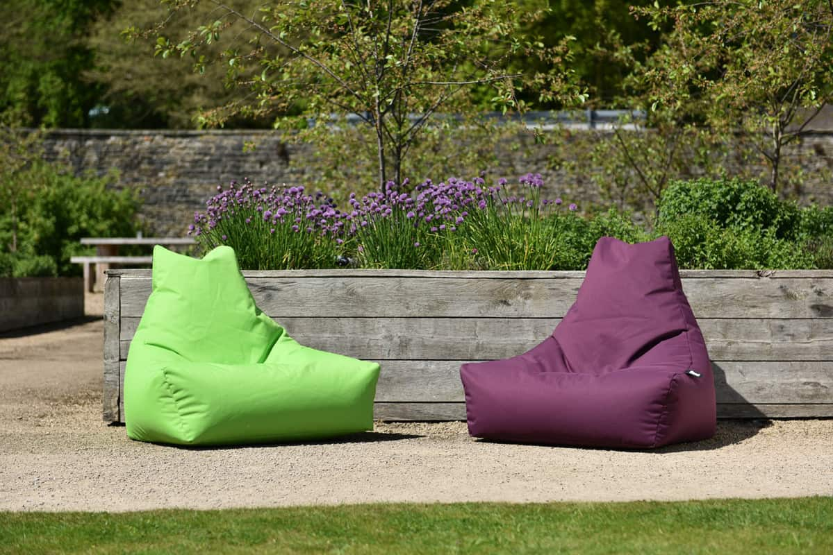 Lime green and purple bean bags for the garden