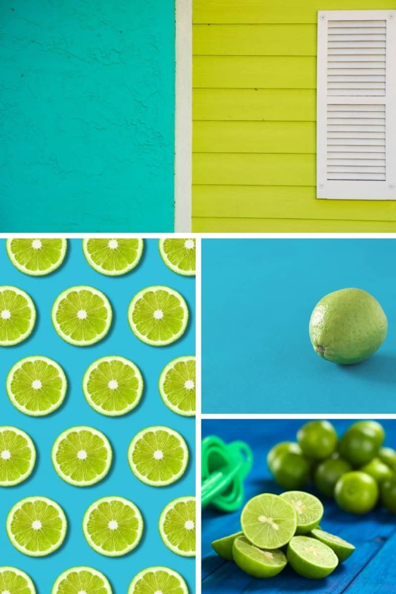 selection of images of lime green and turquoise and lime green and blue