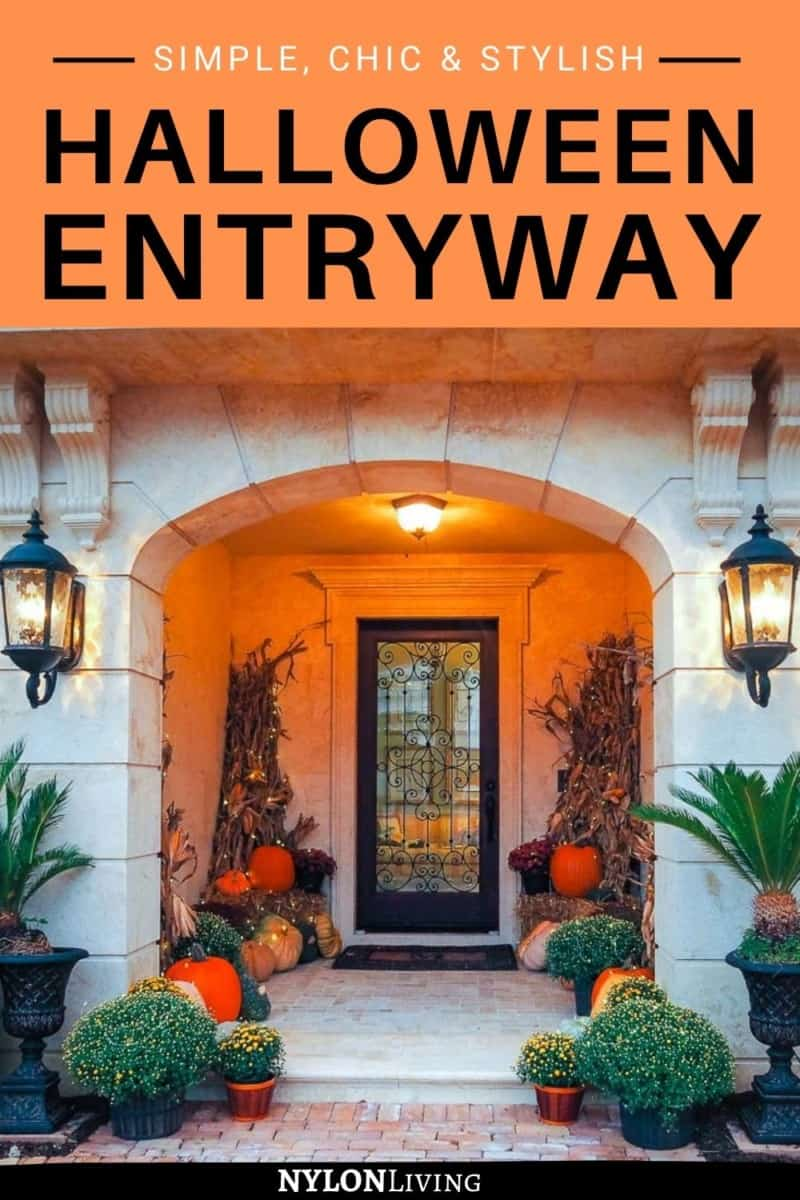 Pinterest Image of a front door decorated for Halloween with the text: Halloween Entryway
