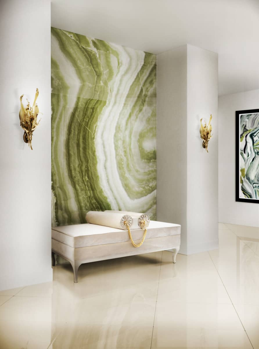alcove with champagne seating and green feature wall