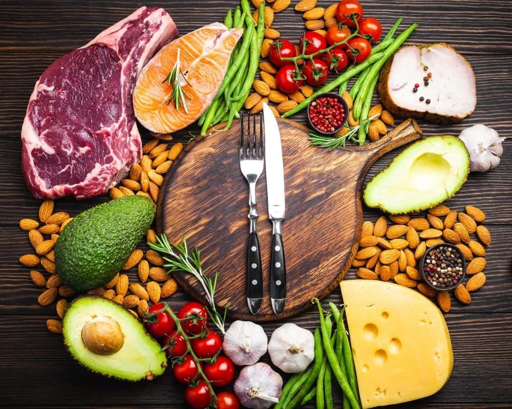 Keto meal products such as meat, cheese, avocado and nuts