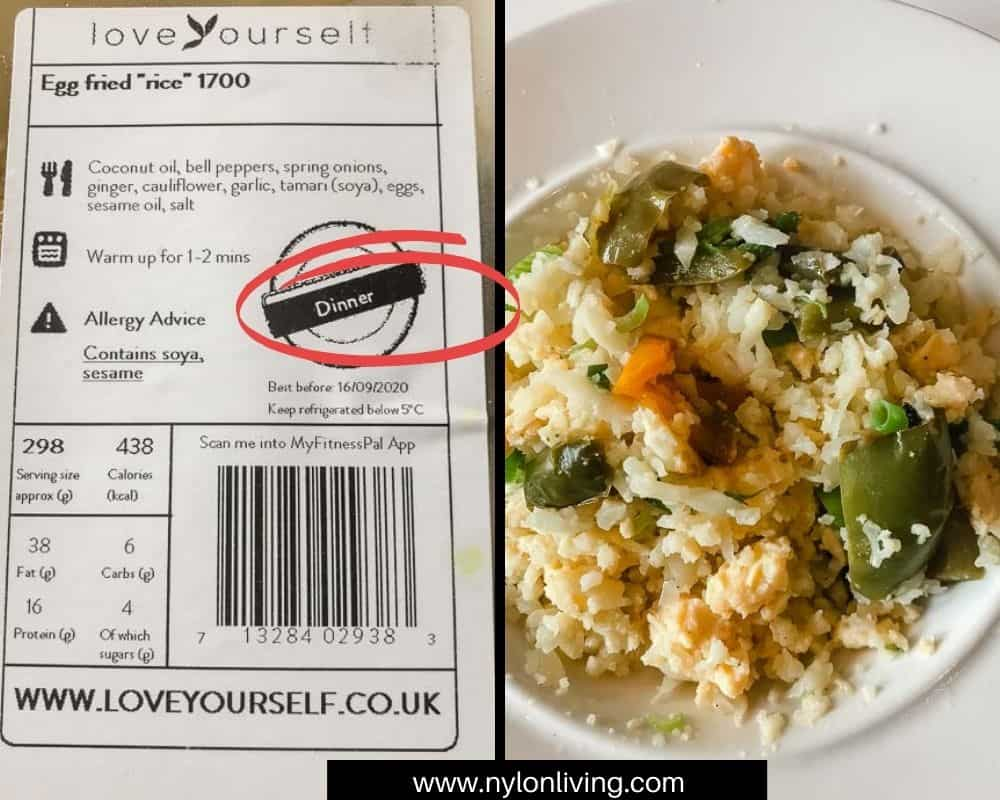 Egg fried rice and nutrition information label from love yourself.co.uk