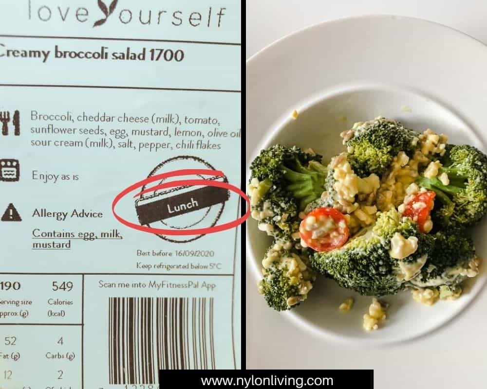 creamy broccoli salad and nutrition label from LoveYourself.co.uk