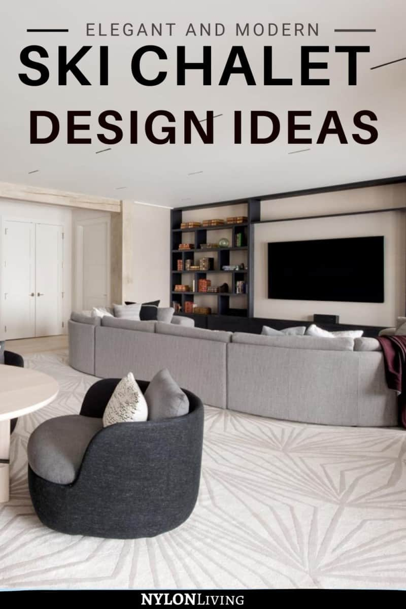 Pinterest Image with living room and title regarding modern design ideas