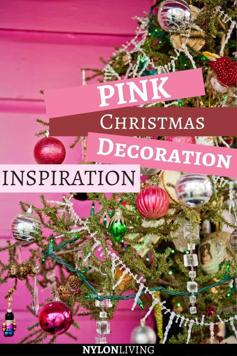 "Pinterest image with a decorated Christmas tree with the text ""Pink Christmas Tree Decoration Insiration"""