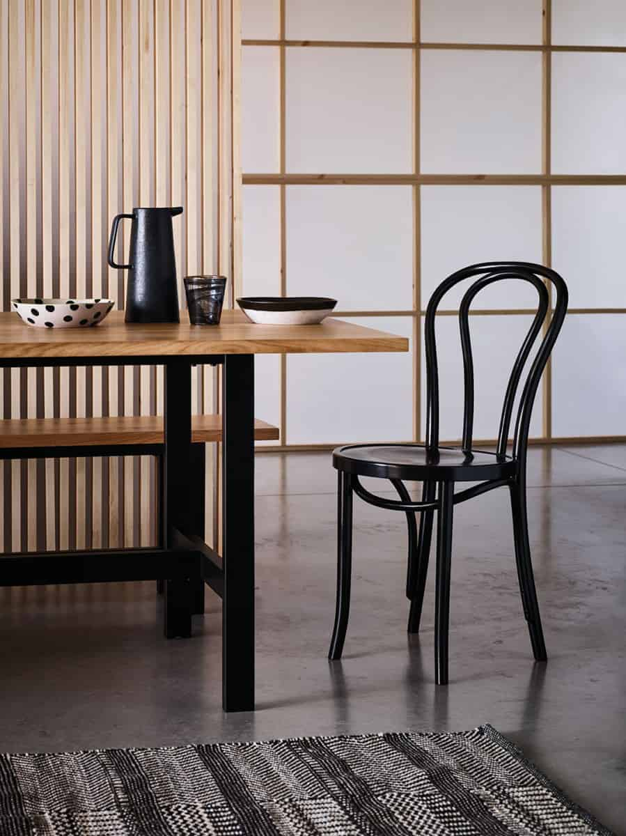 Japandi interior design creating contrast with different colour wood