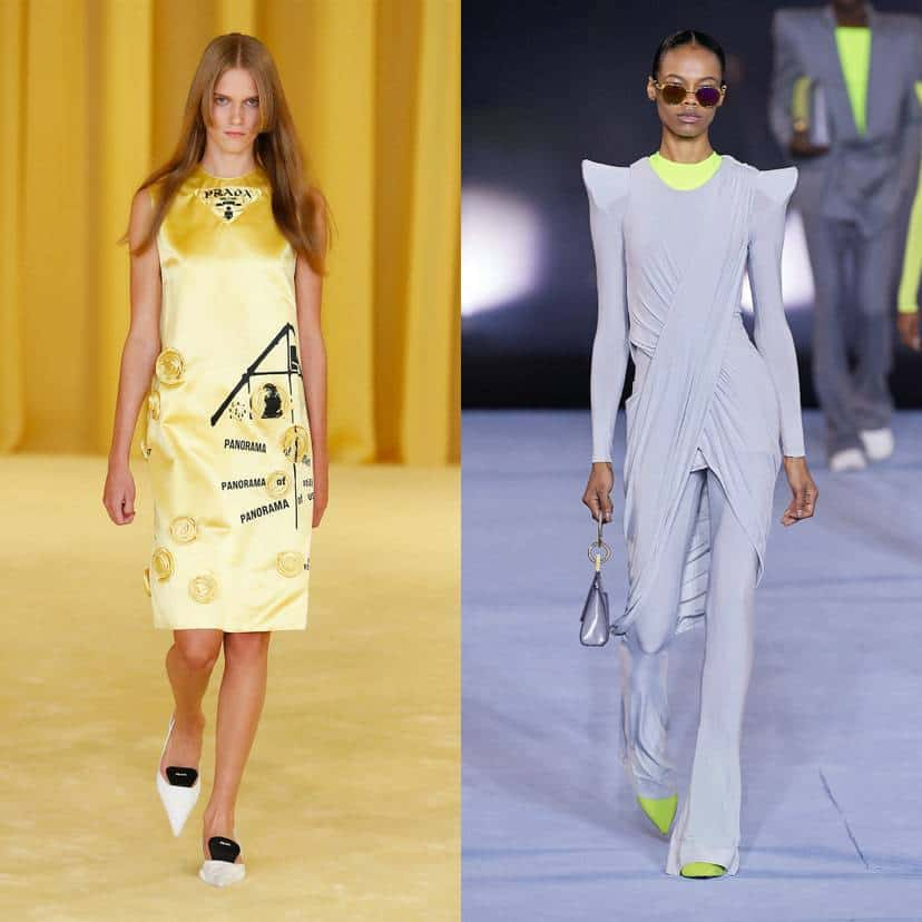 Prada and Balmain models on the runway in a yellow dress and a gray suit