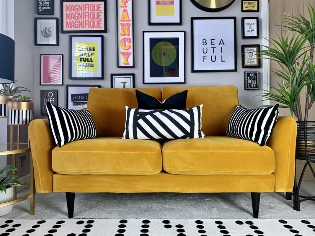 2 seater sofa in yellow