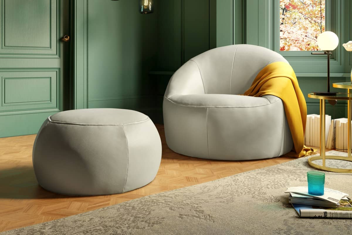 Sofology Nest Chair Lead Grey Nest Footstool Lead Grey