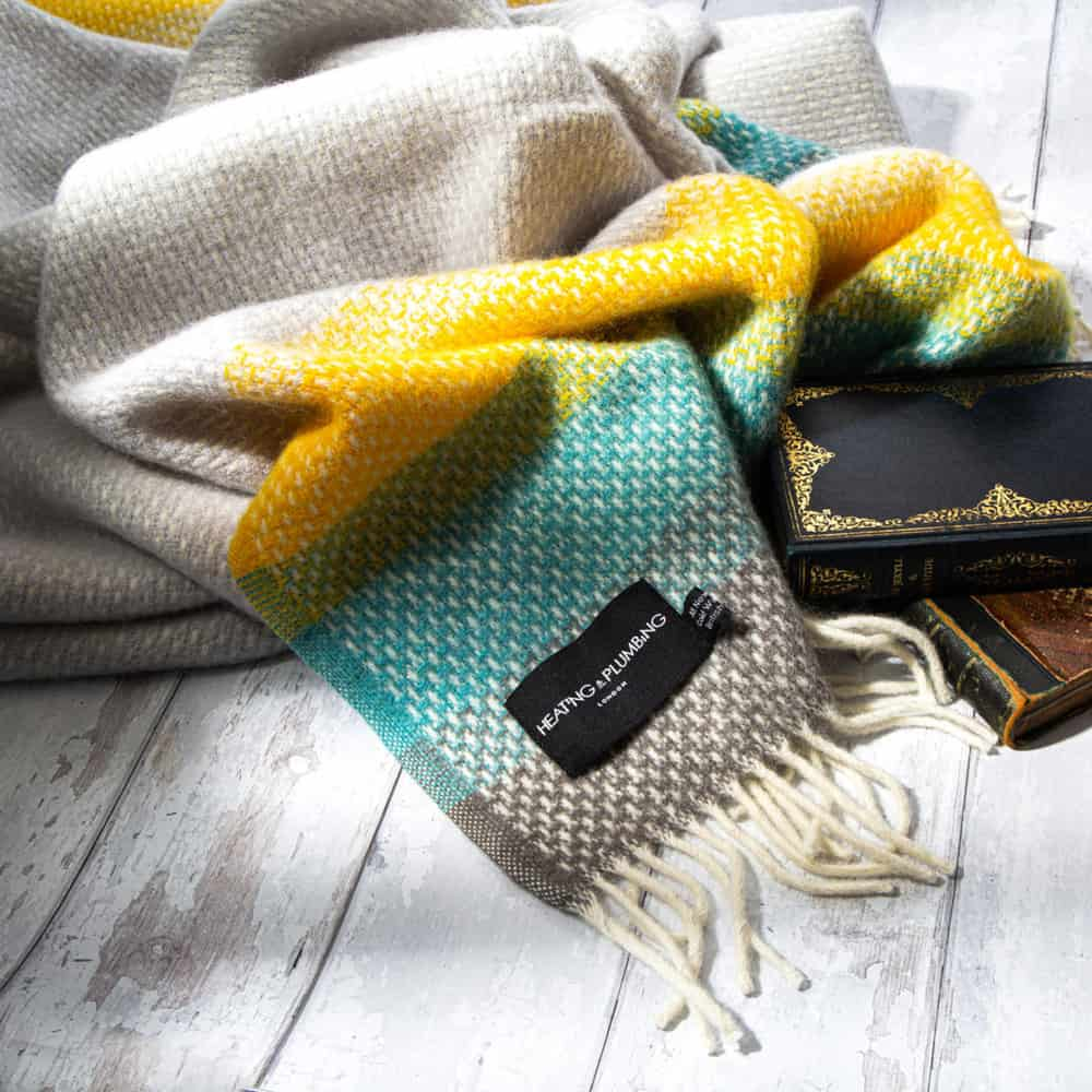 Super Fluffy Pure New Wool Blanket Yellow Turquoise And Grey